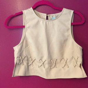 She & Sky crop top SZS NWT slits & X ties on side